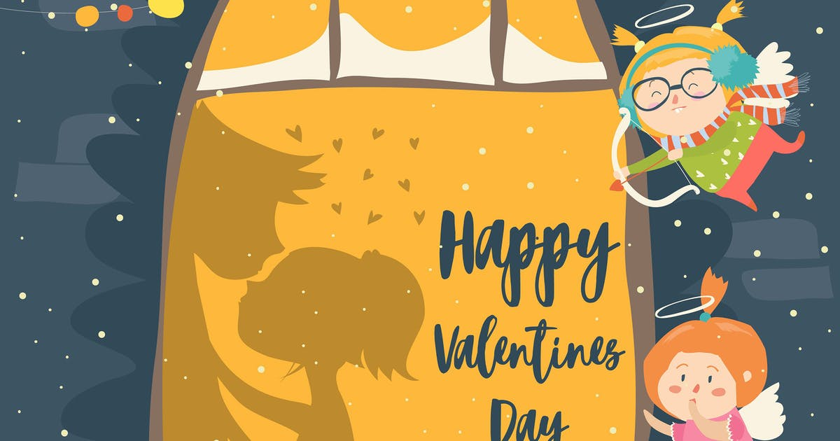 Download St.Valentine card with cupid and couple. Vector by masastarus