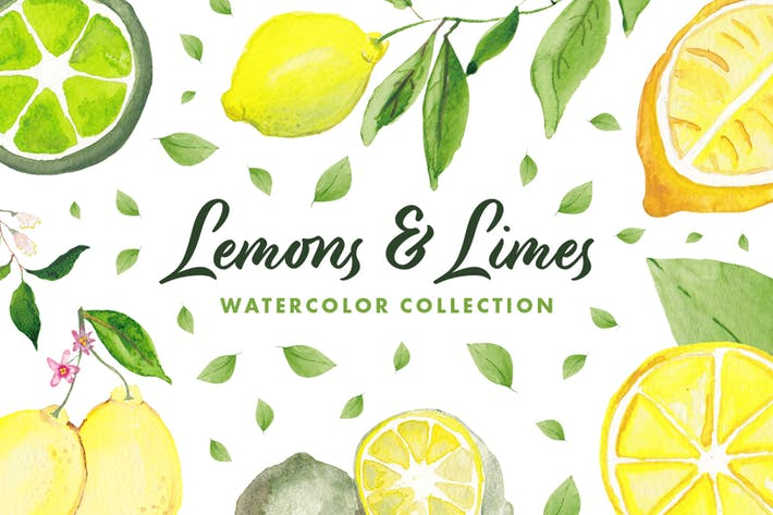 Thumbnail for Lemons & Limes Watercolor Collection