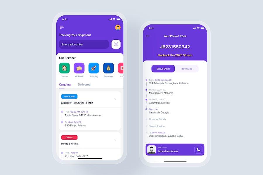 Parcel tracking mobile app concept