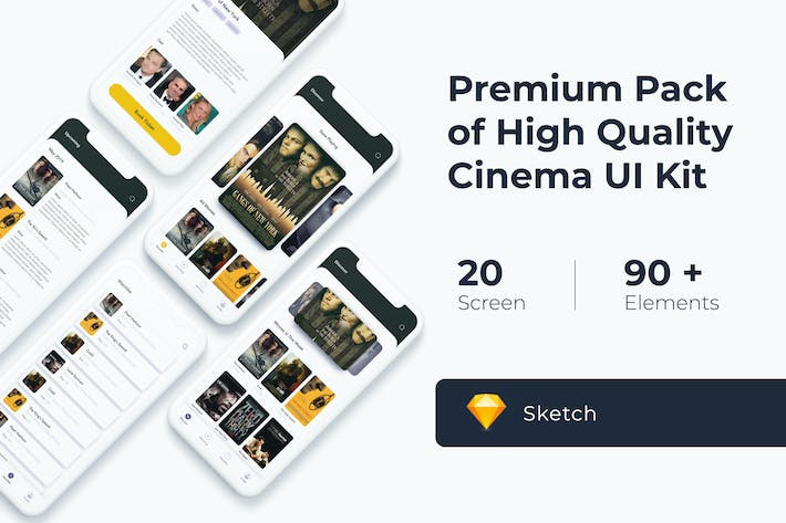 Thumbnail for Cinema Movie UI KIT for Sketch