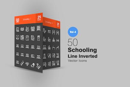 50 Schullinie invertierte Icons
