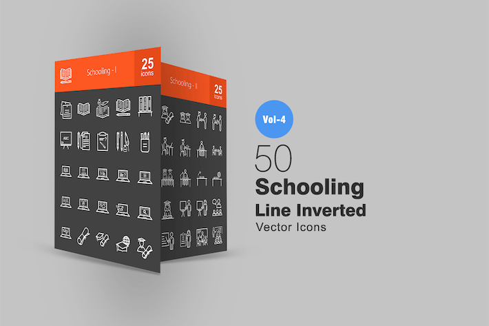 Thumbnail for 50 Schooling Line Inverted Icons