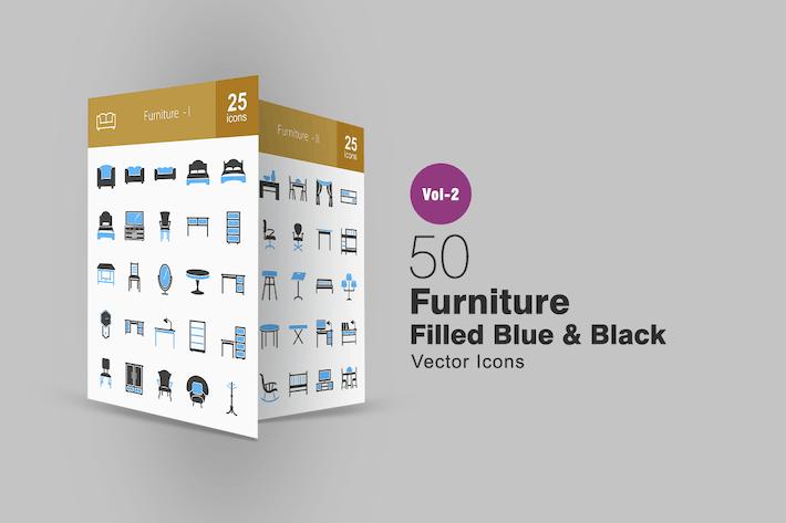 Thumbnail for 50 Furniture Blue & Black Icons