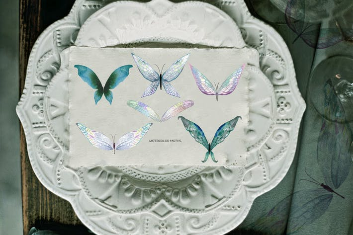 Thumbnail for Watercolor tender butterflies and moths