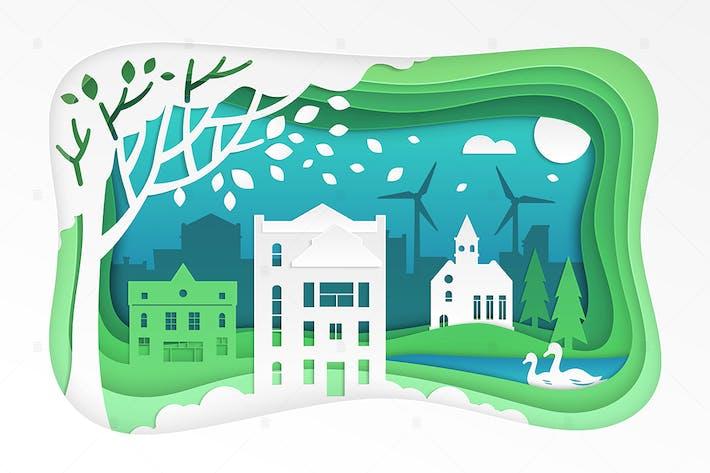 Thumbnail for Paper cut landscape - modern vector illustration