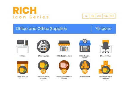 75 Büro- und Bürobedarf-Symbole - Rich Series