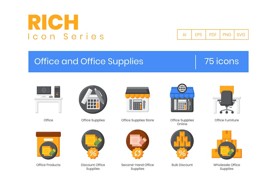 75 Office and Office Supplies Icons - Rich Series