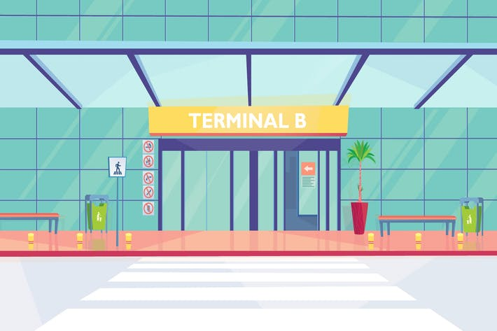 Thumbnail for Airport Main Entrance - Illustration Background