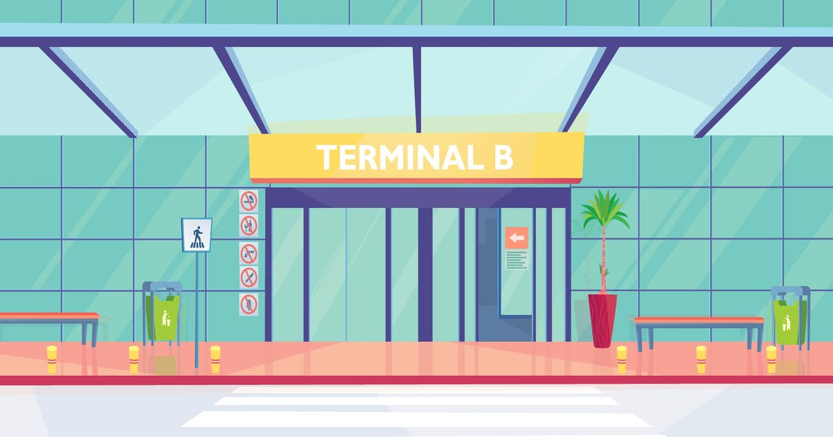 Download Airport Main Entrance - Illustration Background by Imapix_