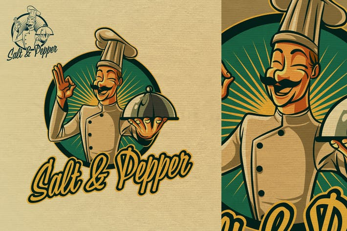 Thumbnail for Vintage Retro Happy Cook or Chef Mascot Logo 5.0