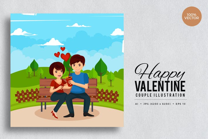 Thumbnail for Romantic Valentine Couple Vector Vol.1