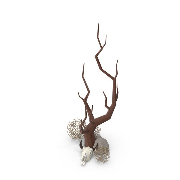 Bare Tree with Cow Skull