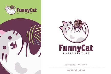 Funny Cat Cartoon Logo