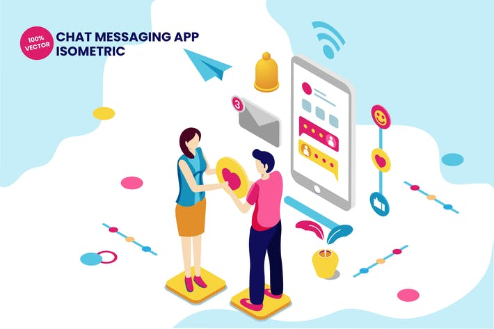 Thumbnail for Isometric Chat Messaging App Vector Illustration