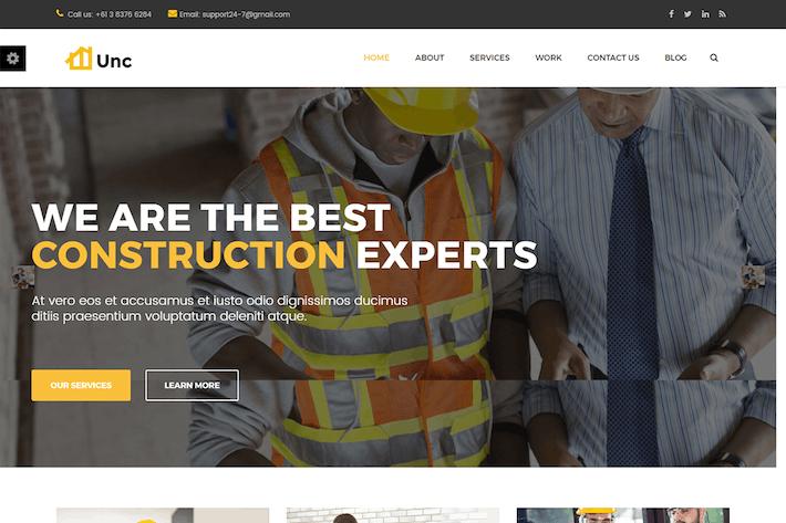 Download 107 construction website templates envato elements thumbnail for unc construction construction business building flashek Images