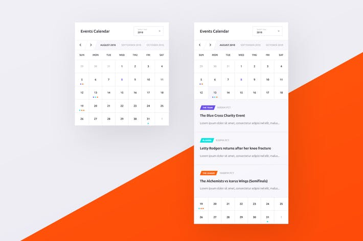 Thumbnail for Events Calendar UI PSD Widget