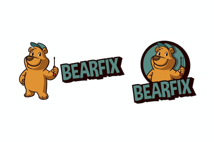 Thumbnail for Retro Cartoon Bear Character Mascot Logo