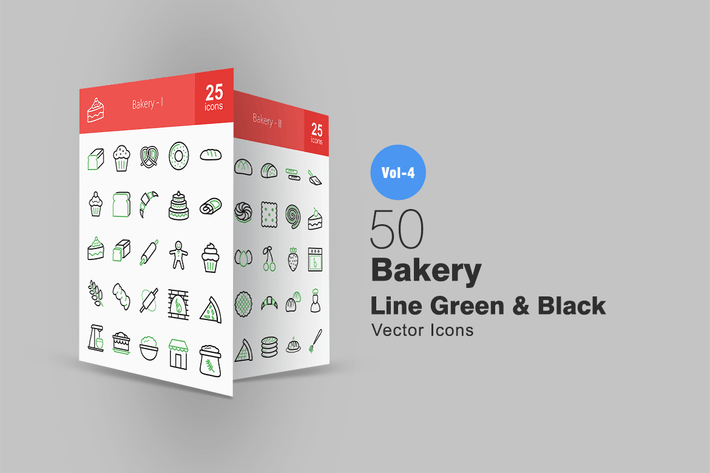 Thumbnail for 50 Bakery Line Green & Black Icons