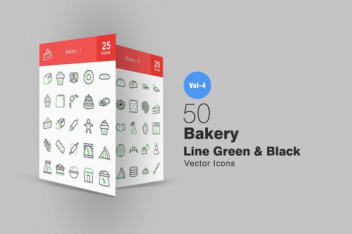 Thumbnail for 50 Boulangerie Ligne Vert & Noir Icones