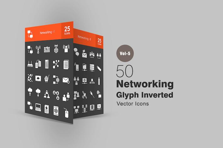 Thumbnail for 50 Icones inversées Glyphe réseau