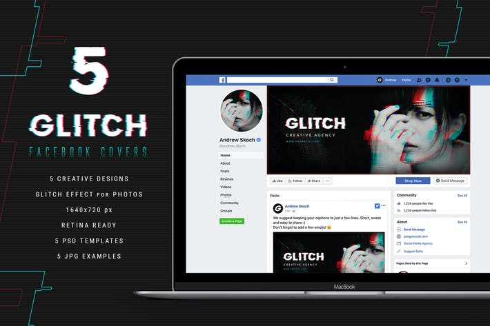 Thumbnail for Glitch Facebook Covers