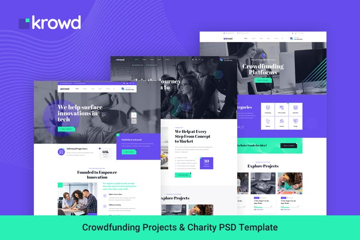 Krowd - Crowdfunding Projects & Charity PSD
