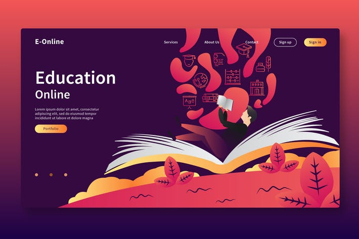 Thumbnail for Education Online - Web Header & Vector Template