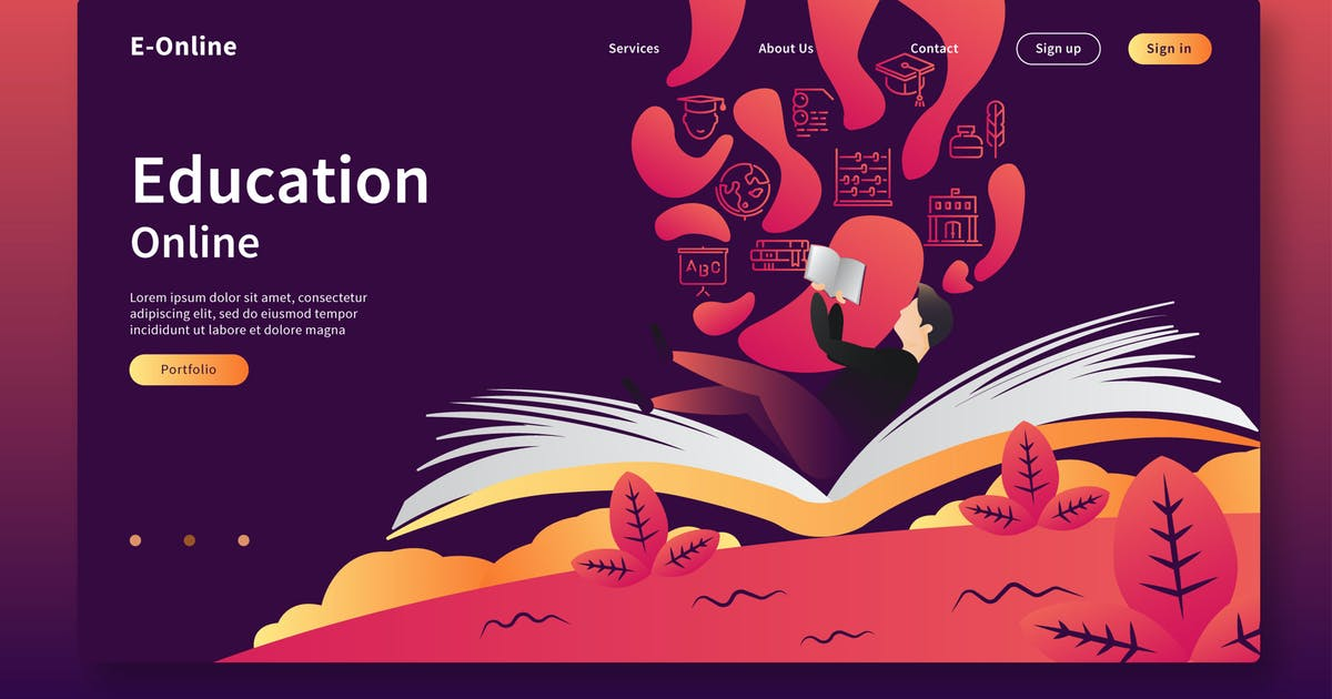 Download Education Online - Web Header & Vector Template GR by Rometheme