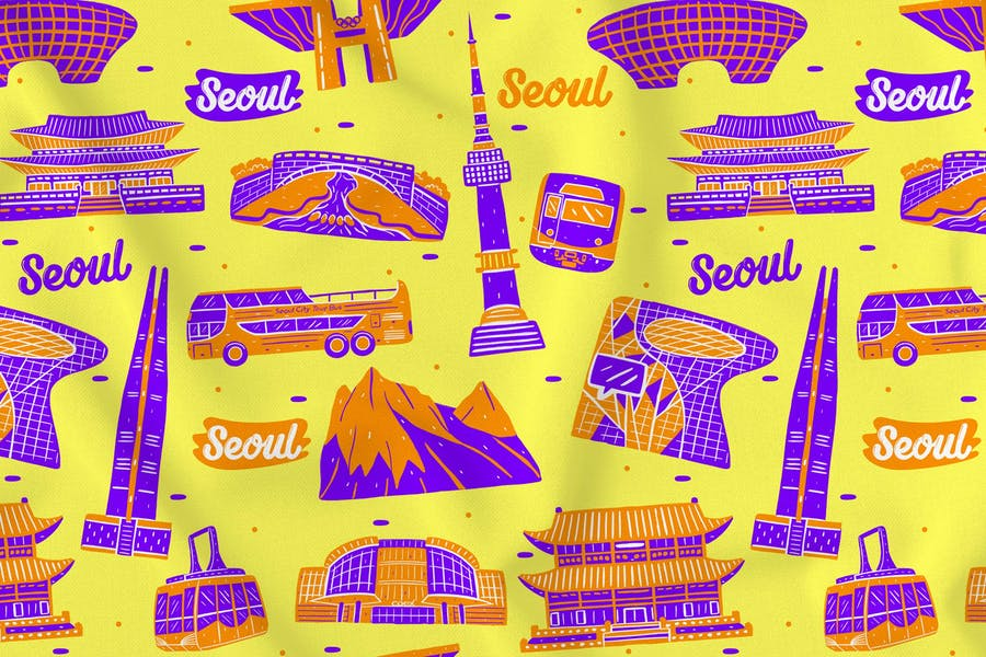 Seoul Seamless Pattern