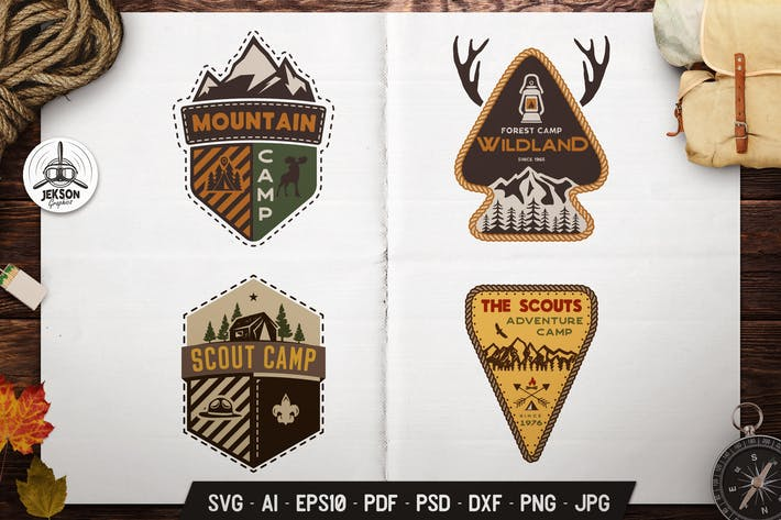 Thumbnail for Scout Camping Adventure Logos Set, Retro Badges
