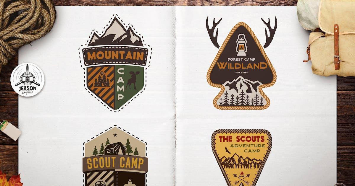 Download Scout Camping Adventure Logos Set, Retro Badges by JeksonJS