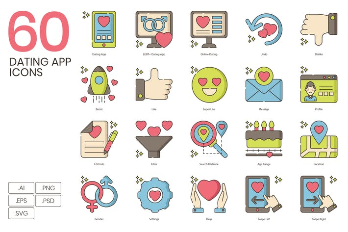Thumbnail for 60 Dating App Line Icons