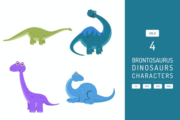 Thumbnail for Cute Brontosaurus - Dinosaurs Character Vol.6