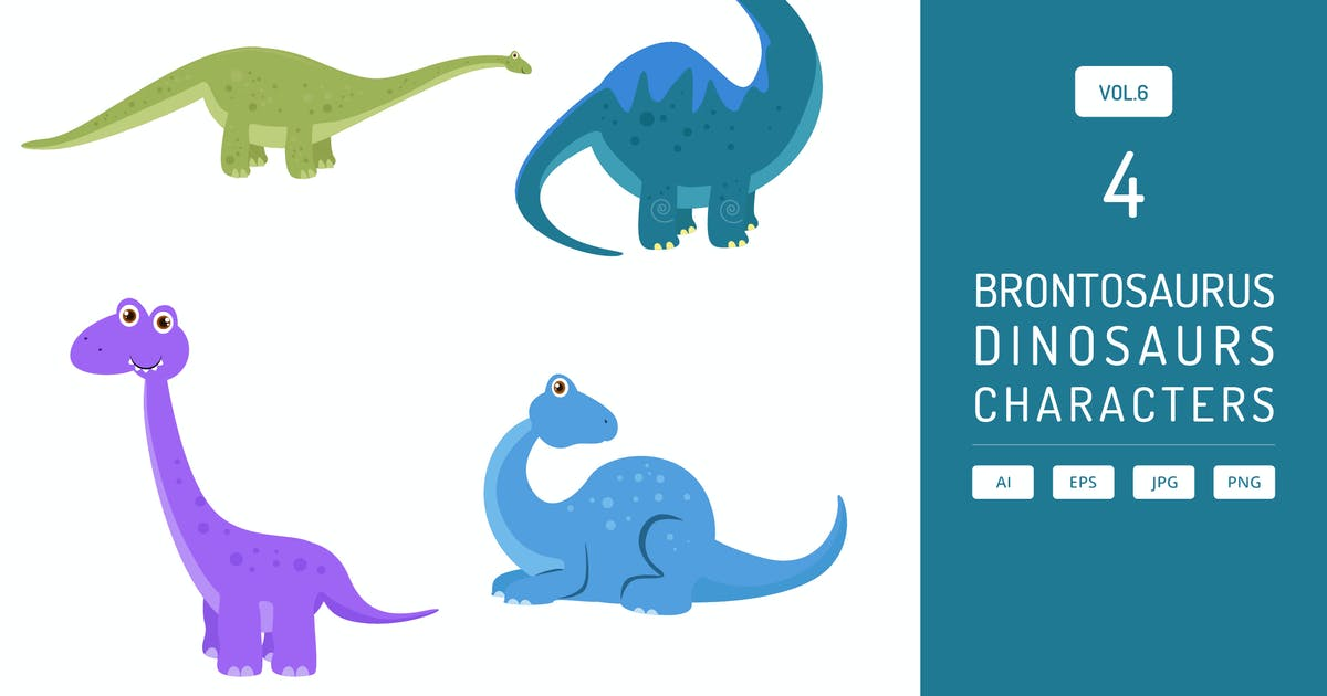 Download Cute Brontosaurus - Dinosaurs Character Vol.6 by Graphiqa