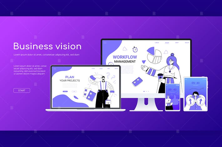 Cover Image For Business vision - flat design style web banner