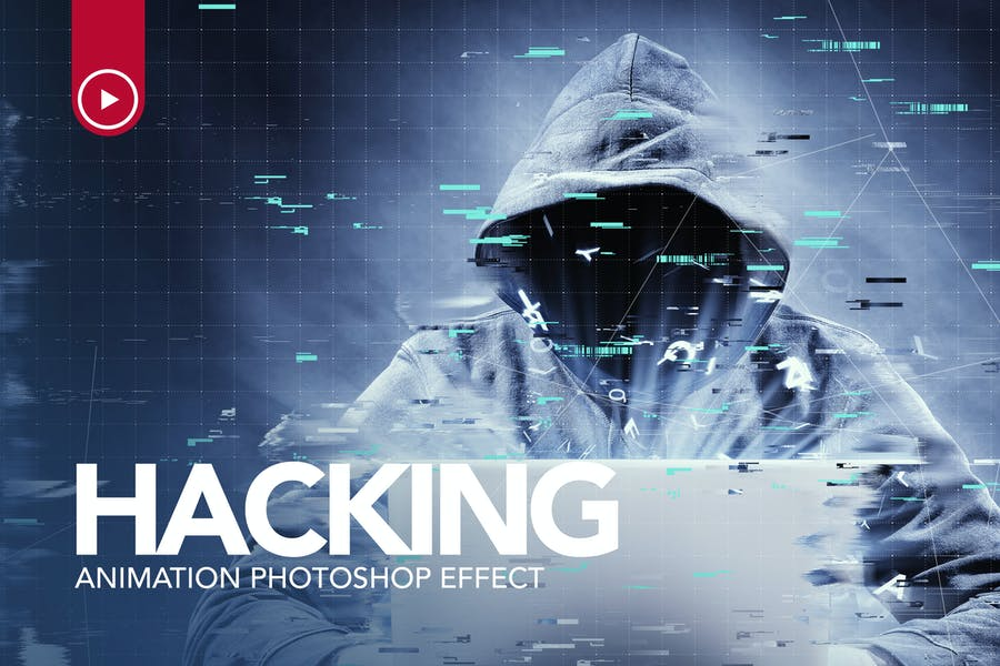 Hacking Animation Photoshop Action - product preview 0