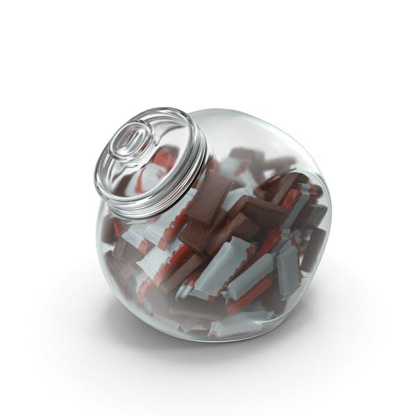 Сферическая банка с завернутыми бисквитами в хрустящей шоколадной крыш