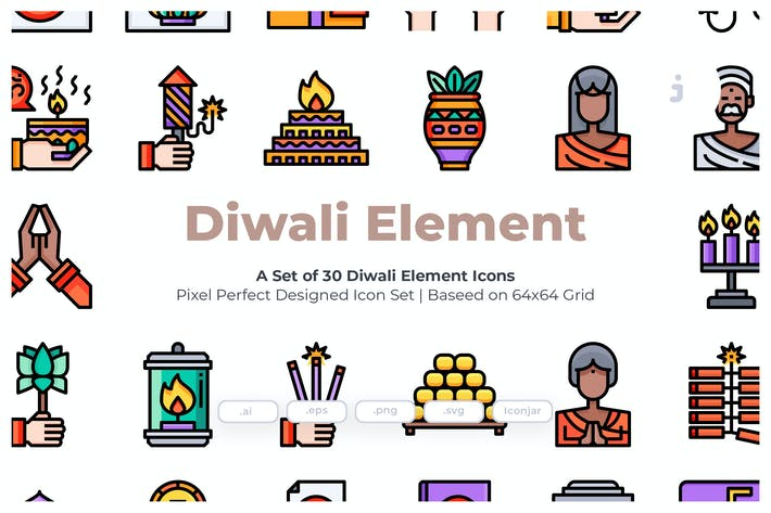 Thumbnail for 30 Diwali Element  Icons