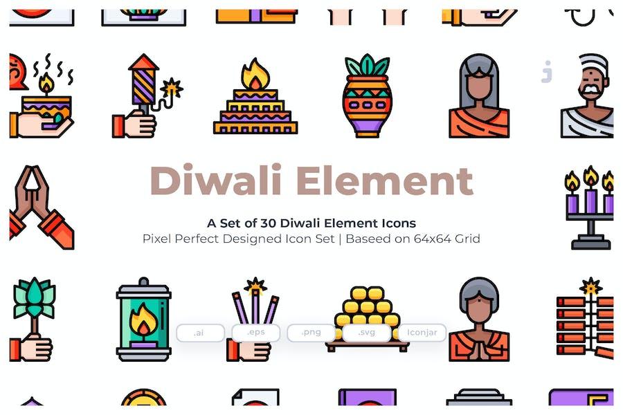30 Diwali Element  Icons