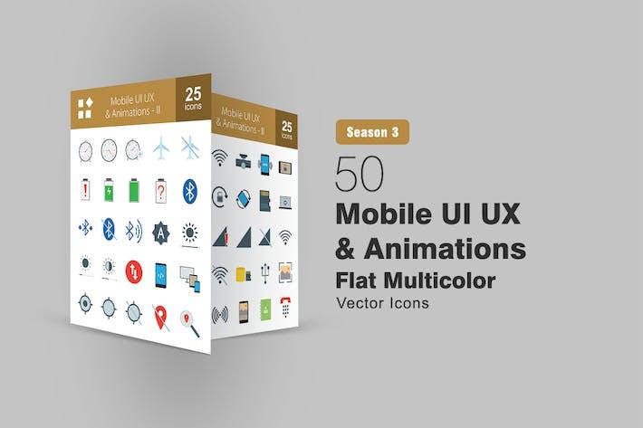 50 Mobile UI & UX Flat Multicolor Icons
