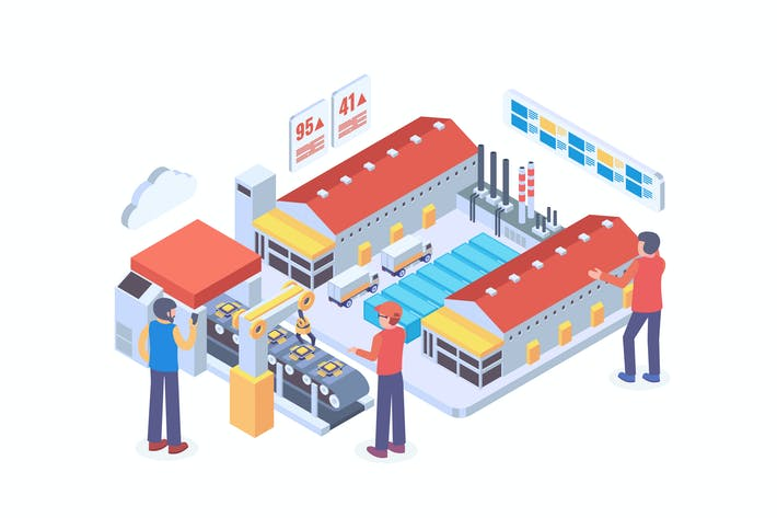 Thumbnail for Modern Industry Production Isometric Vector