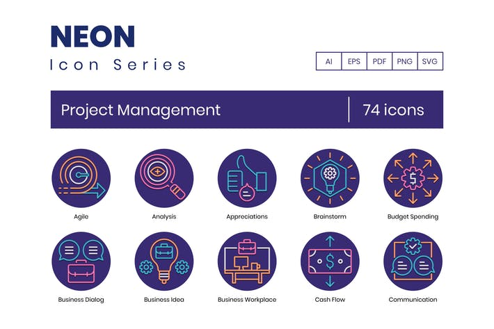Thumbnail for 74 Project Management Round Icons