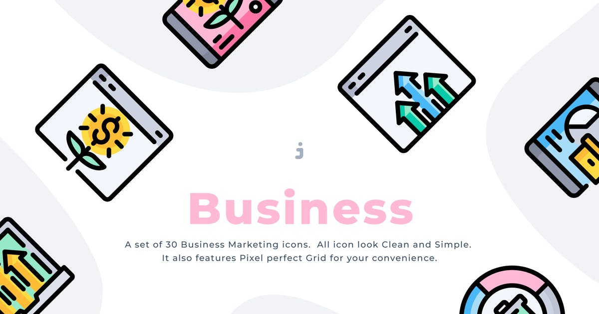 Download 30 Business Marketing Icons by Justicon