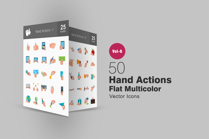 Thumbnail for 50 Hand Actions Flat Multicolor Icons