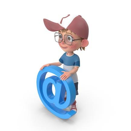 Cartoon Boy hält E-Mail Zeichen