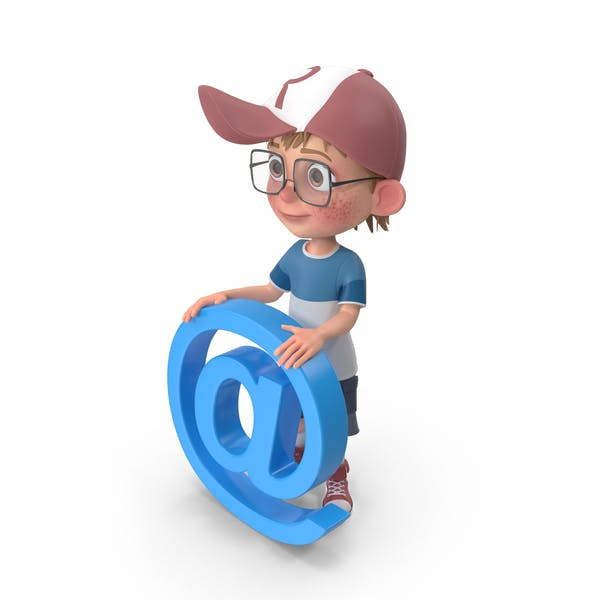 Cartoon Boy Holding Email Sign