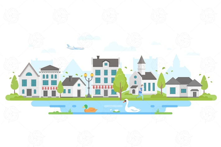 Thumbnail for Cityscape with a pond - flat illustration