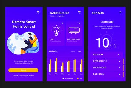 Smart Home Controller Apps PSD and AI Template