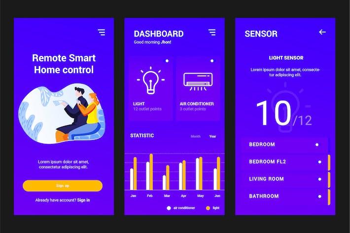 Thumbnail for Plantilla PSD y AI para aplicaciones Smart Home Controller