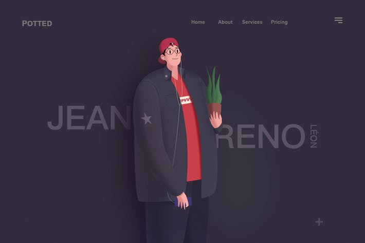 Thumbnail for A man holding a potted plant-flat illustration